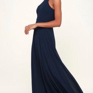 XL LULUS NAVY BLUE SLEEVELESS MAXI DRESS.